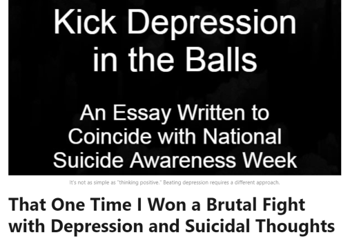 Kick Depression In the Balls: An Essay Written to Coincide with National Suicide Awareness Week (LinkedIn Pulse article screenshot)