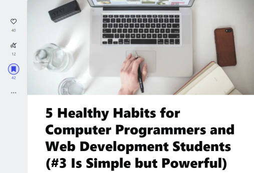 5 Healthy Habits for Computer Programmers and Web Development Students (Practical Dev article screenshot)